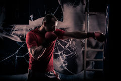 Kick boxer boxing as exercise for the big fight. Boxer hits punching bag. Young boxer trains on punching bag Stock Images