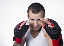 Kick boxer in defensing stand Stock Image