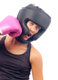 Kick boxer girl punched in the face Royalty Free Stock Photography