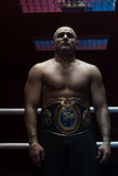 Kick boxer with his championship belt Royalty Free Stock Images