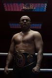 Kick boxer with his championship belt Royalty Free Stock Photo