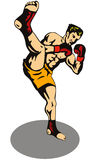 Kick boxer kicking front. Illustration on the sport of kick boxing Stock Image