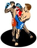Kick boxer knocking out boxer. Illustration on the sport of kick boxing Royalty Free Stock Photos