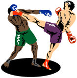 Kick boxer knocking out boxer Royalty Free Stock Image