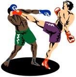 Kick boxer knocking out boxer. Illustration on the sport of kick boxing Royalty Free Stock Image