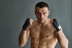 Kick boxer man ready to fight. stock image