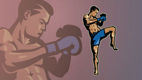 Kick-boxer in a pose. Stock Photo