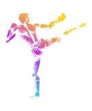 Kick Boxer. Sketch illustration of a kick boxer Royalty Free Stock Photo