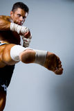 Kick-boxer training before fight. On a gray background Stock Images