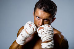 Kick-boxer training before fight Stock Image