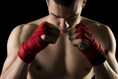 On a kick boxing training Royalty Free Stock Photos