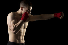 On a kick boxing training Stock Photos