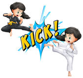 Kick flash. Girls kicking with flash on white Royalty Free Stock Photography