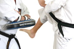 Kick in karate - motion blur Stock Photos