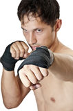 Kick. Kickboxing or Muay Thai. martial art Royalty Free Stock Photos