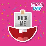 Kick me prank paper sticker and happy mouth. Vector illustration Royalty Free Stock Photos
