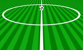Kick off. Illustration of a football ball positioned at the centre of the field ready to be kicked off. Eps file is available Royalty Free Stock Images