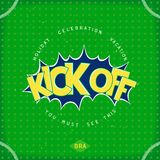 Kick off football. Event in Brazil kick off. Card in retro comic style. Vector eps 10 Royalty Free Stock Image