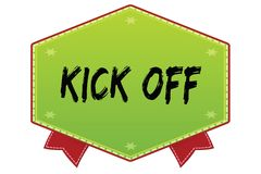KICK OFF on green badge with red ribbons. Illustration image Royalty Free Stock Image