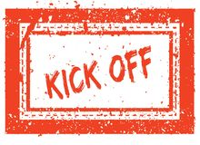 KICK OFF on orange square frame rubber stamp with grunge texture Stock Images