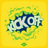 Kick off -  pop art comic speech bubble Stock Photo