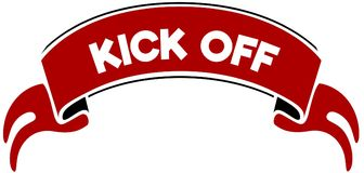 KICK OFF on red band. Illustration graphic concept image vector illustration