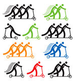 Kick Scooter colorful icons Royalty Free Stock Images
