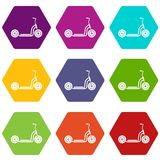 Kick scooter icon set color hexahedron. Kick scooter icon set many color hexahedron isolated on white vector illustration Stock Images