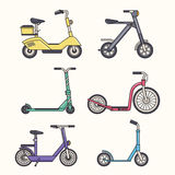 Kick Scooter Line Set Royalty Free Stock Images