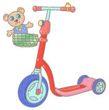 Kick scooter. Red child's kick scooter with Teddy-bear in the basket royalty free illustration