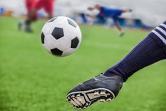 Kick soccer ball. In goal with loss goalman stock images