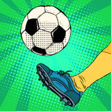 Kick a soccer ball. Pop art retro style. The European football. The free-kick royalty free illustration