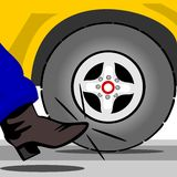 Kick the tire. An image that explains the shopping experience of buying or testing a new or used vehicle Royalty Free Stock Images
