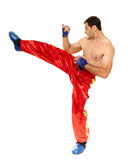 Kickbox fighter executing a kick Stock Image