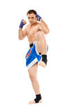 Kickbox fighter executing a kick Royalty Free Stock Photos