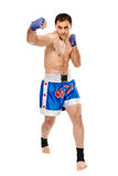 Kickbox fighter executing a punch Royalty Free Stock Photo