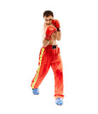 Kickbox fighter executing a punch Royalty Free Stock Photos