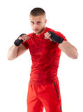 Kickbox fighter in guard stance Royalty Free Stock Photo
