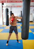 Kickbox fighter training with the punch bag Stock Photography