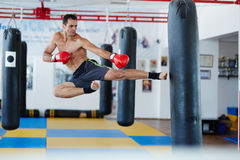 Kickbox fighter training with the punch bag Royalty Free Stock Photography