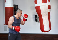 Kickbox fighter working on punchbags Royalty Free Stock Photo