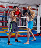Kickbox fighters in the ring Royalty Free Stock Images