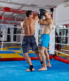 Kickbox fighters in the ring Stock Photos