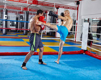 Kickbox fighters sparring in the ring Stock Photo