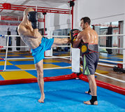 Kickbox fighters training in the ring Royalty Free Stock Image