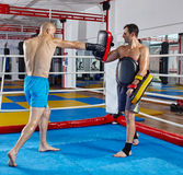Kickbox fighters training in the ring Stock Images
