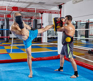 Kickbox fighters training in the ring Stock Photography