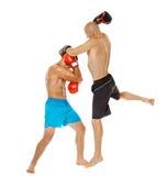 Kickbox-Kämpferauseinandersetzung Stockfotografie