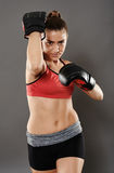 Kickbox lady elbow hit Stock Photo