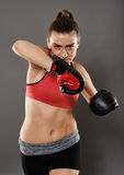 Kickbox lady elbow hit Stock Image